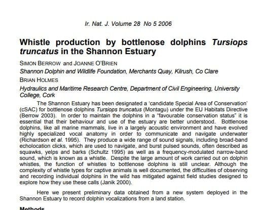 Berrow et al. (2006) Whistle production by bottlenose dolphins in the Shannon Estuary