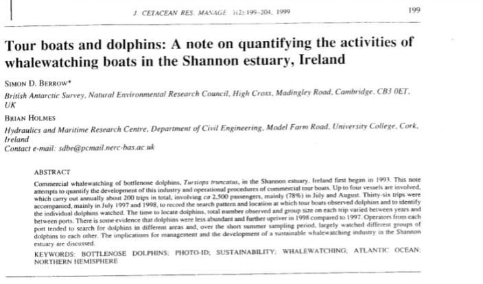 Berrow and Holmes (1999) Tour boats and dolphins: A note on quantifying the activities of whalewatching boats