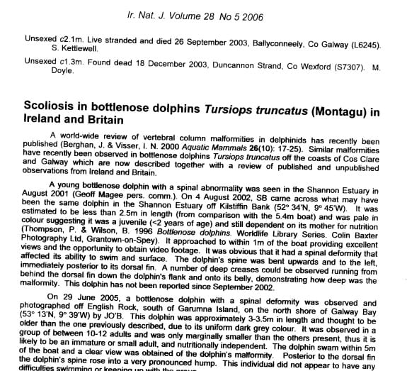 Berrow and O_Brien (2006) Scoliosis in bottlenose dolphins in Britain and Ireland