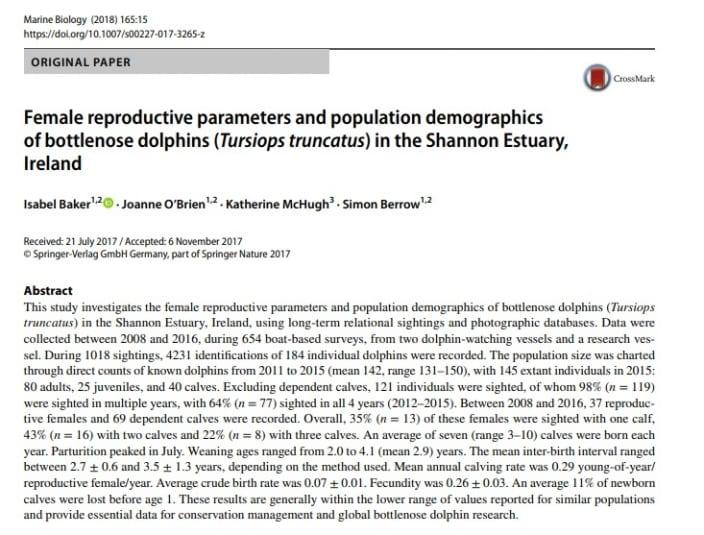 Baker et al. (2018) Female reproductive parameters andpopulation demographics ofbottlenose dolphins (Tursiops truncatus) intheShannon Estuary, Ireland