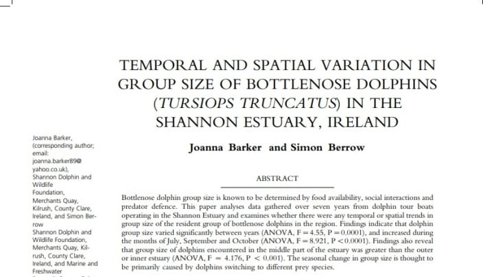 Barker and Berrow (2016) TEMPORAL AND SPATIAL VARIATION IN GROUP SIZE OF BOTTLENOSE DOLPHINS (TURSIOPS TRUNCATUS) IN THE SHANNON ESTUARY, IRELAND