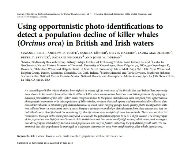 Beck et al. (2015) Using opportunistic photo-identifications to detect a population decline of killer whales in British and Irish waters