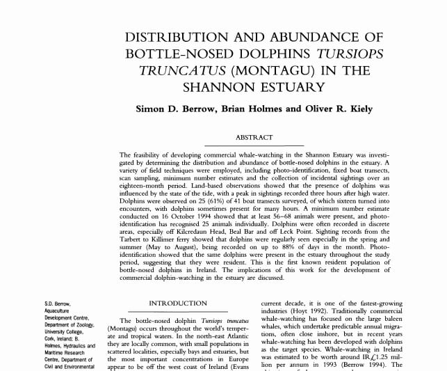 Berrow et al. (1996) Distribution and Abundance of Bottle-Nosed Dolphins in the Shannon Estuary