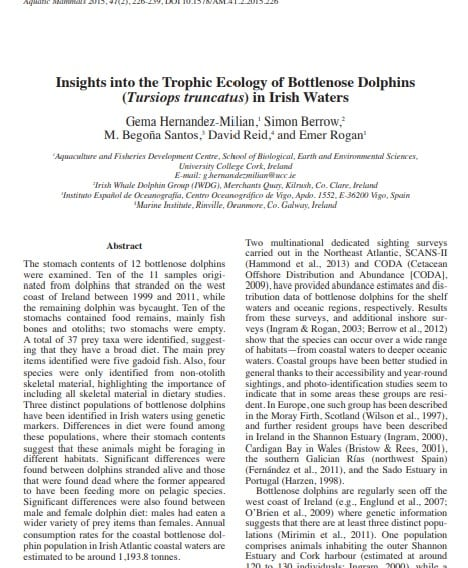 Hernandez-Milian et al. (2015) Insights into the Trophic Ecology of Bottlenose Dolphins in Irish Waters