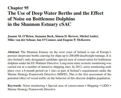 O'Brien et al. (2016)  The Use of Deep Water Berths and the Effect of Noise on Bottlenose Dolphins in the Shannon Estuary cSAC
