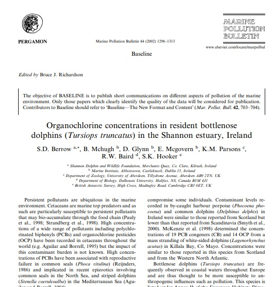 Berrow et al. (2002) Organochlorine concentrations in resident bottlenose dolphins in the Shannon estuary, Ireland