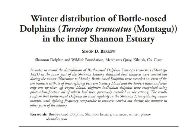 Berrow (2009) Winter distribution of Bottle-nosed Dolphins in the inner Shannon Estuary