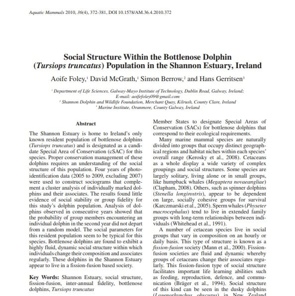 Foley et al. (2010) Social Structure Within the Bottlenose Dolphin Population in the Shannon Estuary, Ireland