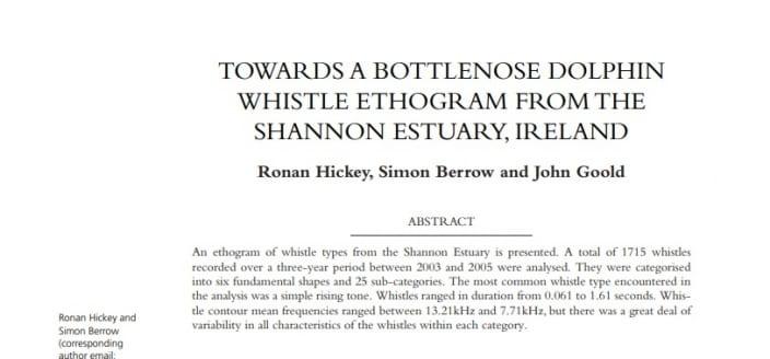 Hickey et al. (2009) TOWARDS A BOTTLENOSE DOLPHIN WHISTLE ETHOGRAM FROM THE SHANNON ESTUARY, IRELAND