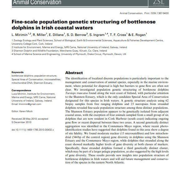 Mirimin et al. (2011) Fine-scale population genetic structuring of bottlenose dolphins in Irish coastal waters