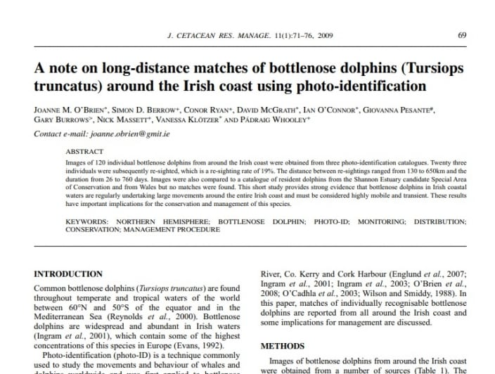 O_Brien et al. (2009) A note on long-distance matches of bottlenose dolphins around the Irish coast using photo-identification