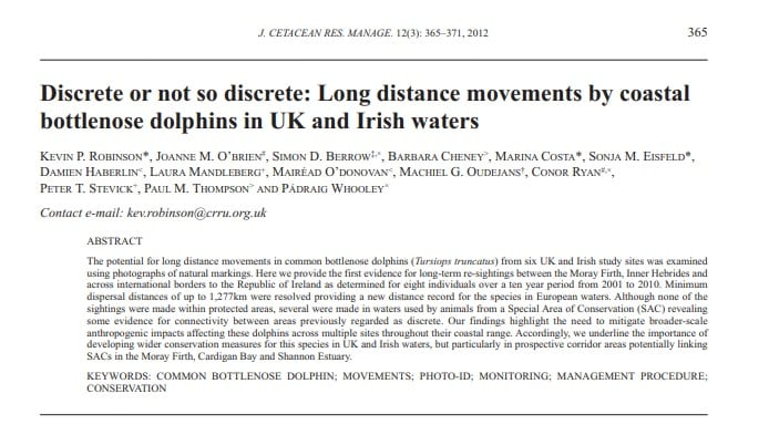 Robinson et al. (2012) Discrete or not so discrete: Long distance movements by coastal bottlenose dolphins in UK and Irish waters
