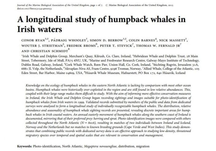 Ryan et al. (2015) A longitudinal study of humpback whales in Irish waters