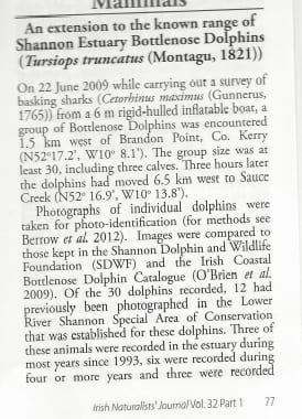 Ryan and Berrow (2013) An extension to the known home range of Shannon Estuary Bottlenose Dolphins