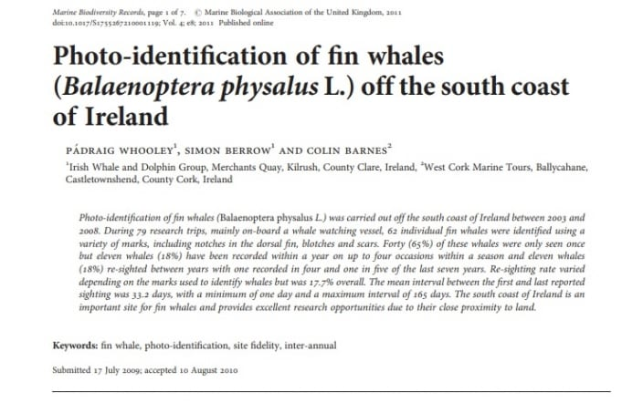Whooley et al. (2010) Photo-identification of fin whales off the south coast of Ireland