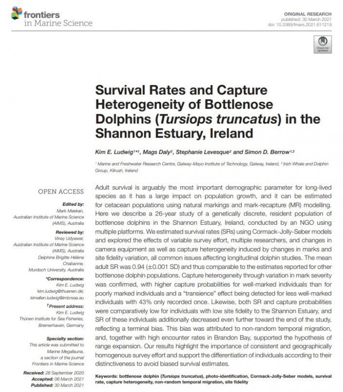Ludwig et al (2021) Survival Rates and Capture Heterogeneity of Bottlenose Dolphins (Tursiops truncatus) in the Shannon Estuary, Ireland
