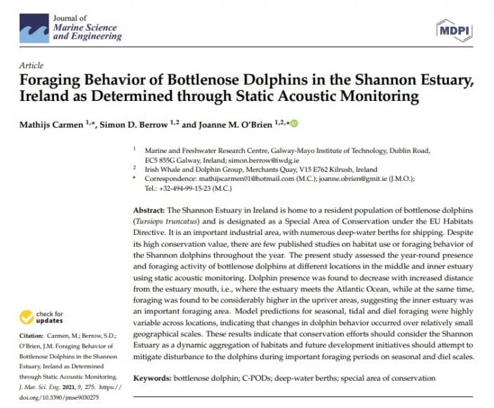 Carmen et al. (2021) Foraging Behavior of Bottlenose Dolphins in the Shannon Estuary, Ireland as Determined through Static Acoustic Monitoring